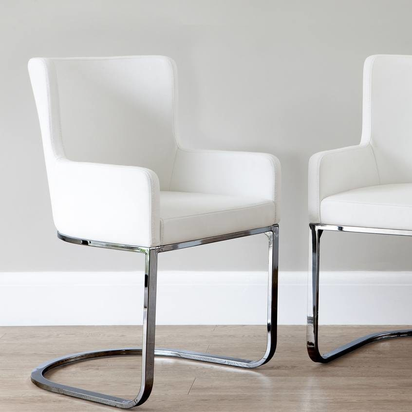 Form Black Chrome Cantilever Dining Armchair
