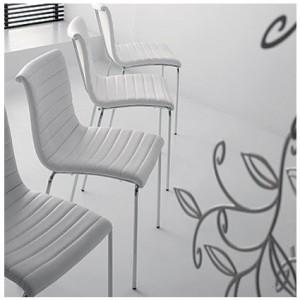 Danetti white leather dining chair, Akia