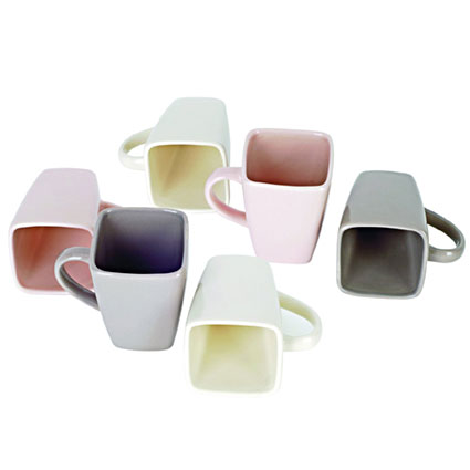 Square mugs, pastel shades