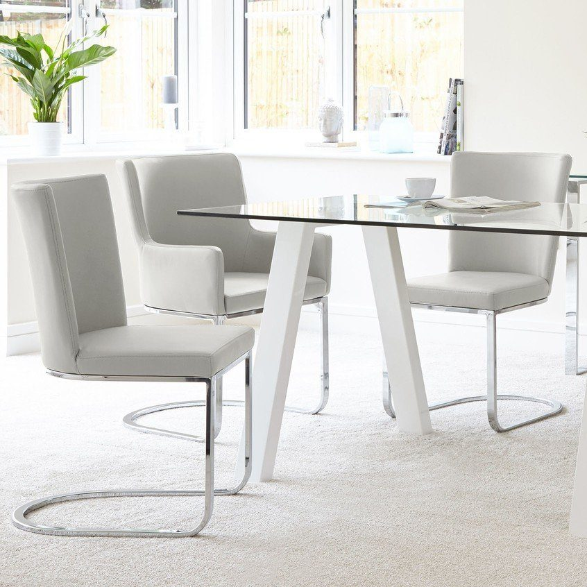 Zen & Form 6 Seater Glass and White Gloss Dining Set