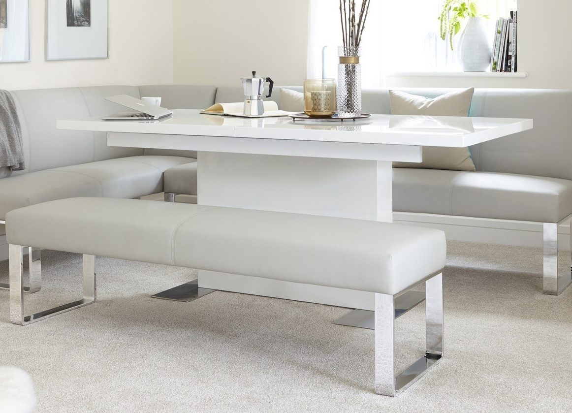 Sanza White Gloss Extending Dining Table