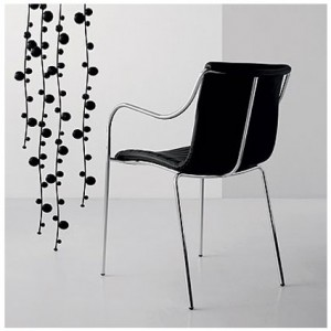 Akia black leather dining chair from Danetti