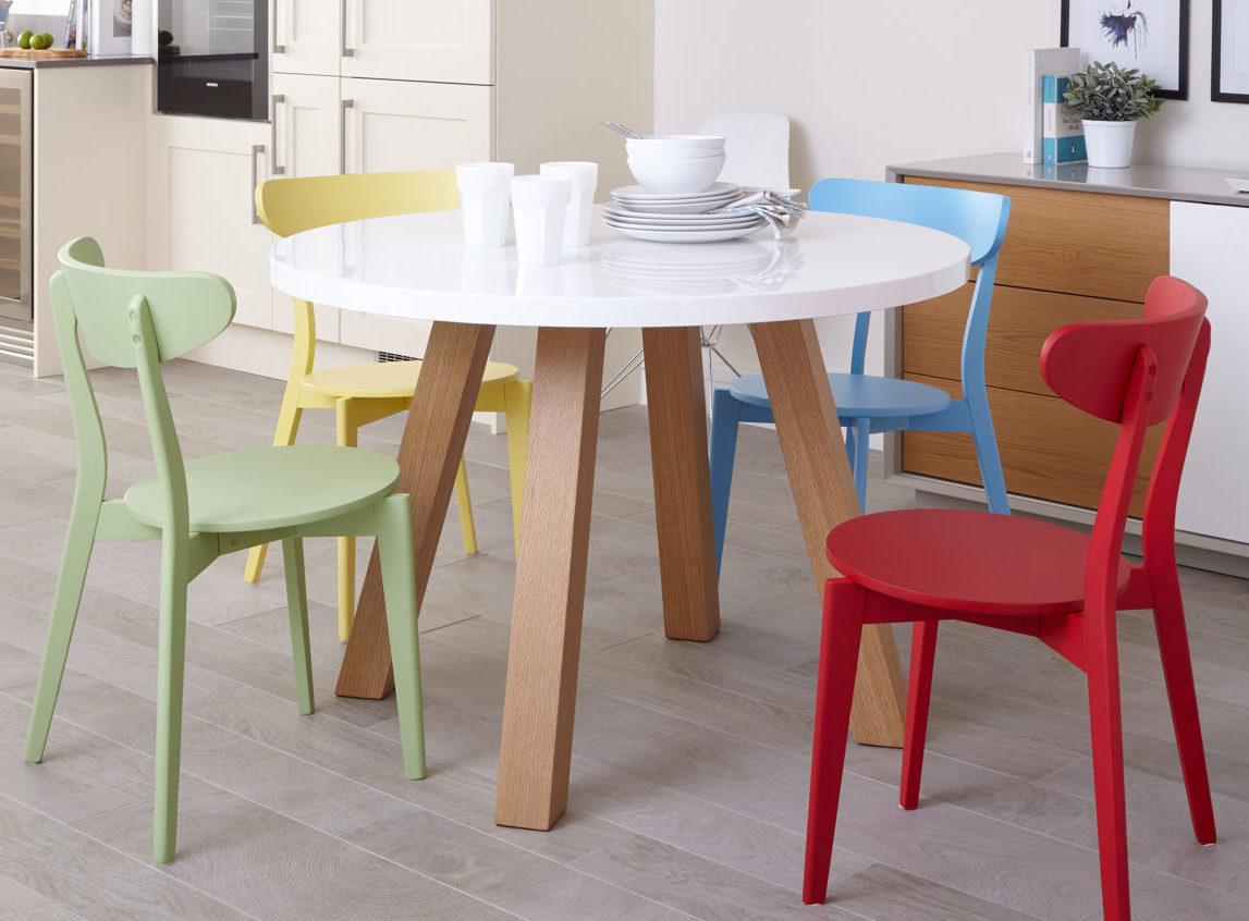 Arc 4 Seater White Gloss and Oak Dining Table