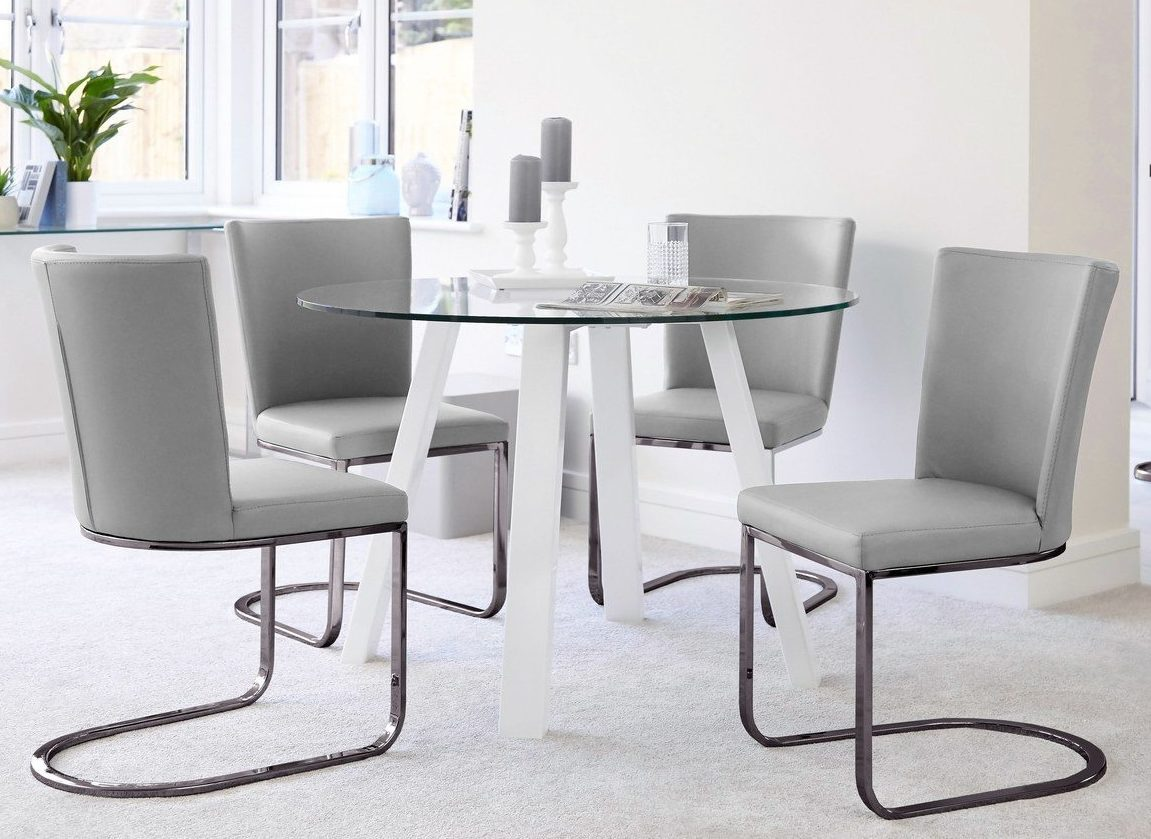 Arc Round 4 Seater Glass and White Gloss Dining Table