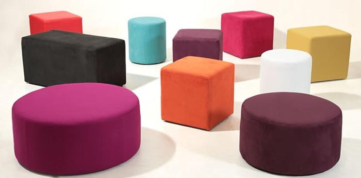 Tall round padded 'Orbit' stools