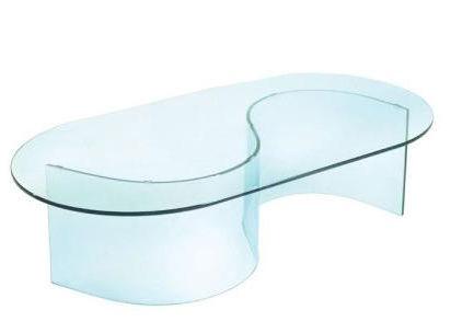 Tron oval glass coffee table