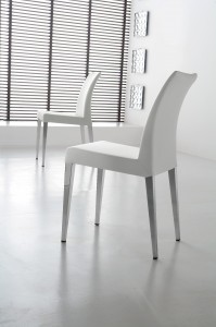 White faux leather dining chair Belvedere