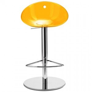 Coco yellow plastic pedastal bar stool