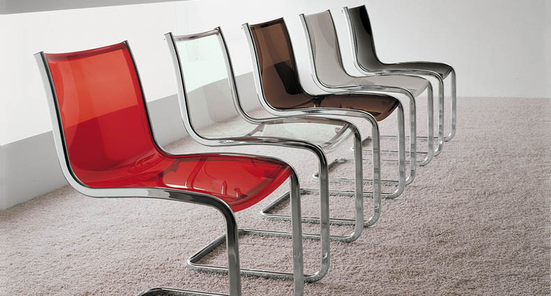 The Davonte clear plastic stackable dining chair