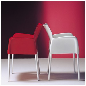 Esquire armchair available in red white and blue