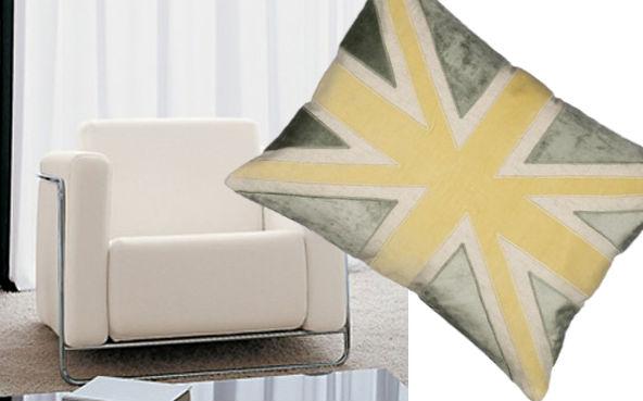 cream armchair