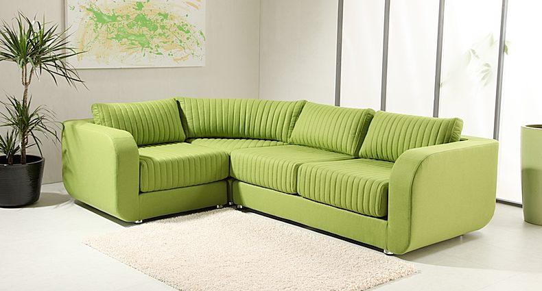 Green modular sofa