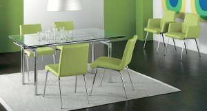 Zeta extendable glass dining table