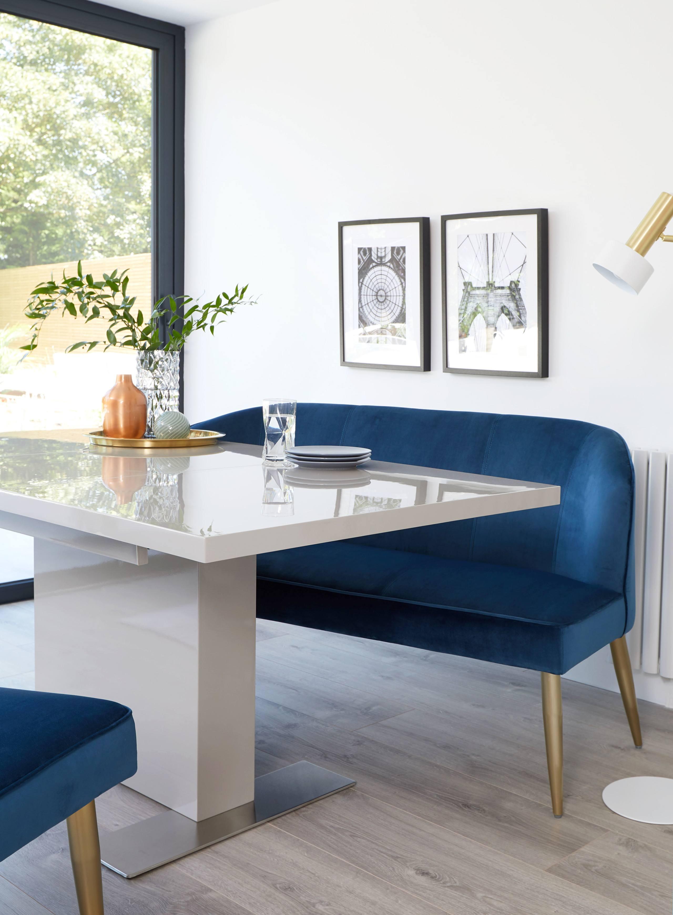 Sanza Grey Gloss and Mellow Velvet Dining Set