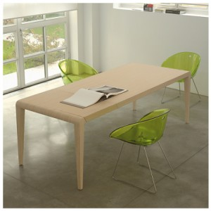 Wooden dining table plastic dining chairs