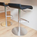Fondi Brushed Steel Gas Lift Bar Stool