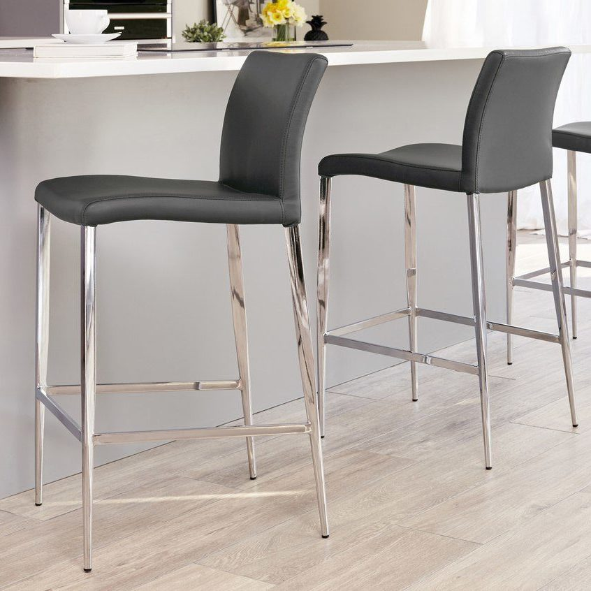 Elise Fixed Height Bar Stool in Putty Grey