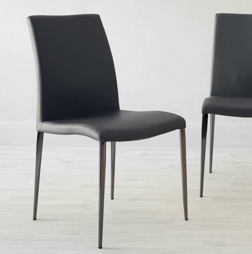 Elise Black Chrome Dining Chair in Black