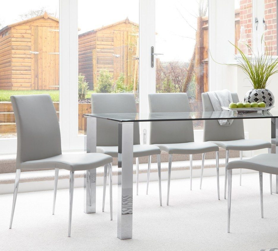 The Elise can be styled alongside a whole variety of tables, like the Tiva 6 to 8 Seater Glass Dining Table.