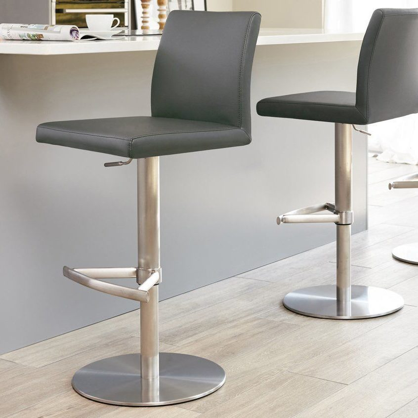 Elise Stainless Steel Gas Lift Bar Stool in Putty Grey