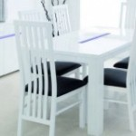 Ambient White Gloss Dining Table and 4 Chairs