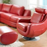 Red Leather Lounge Swivel Chair