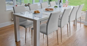 Fern Extending White Hi Gloss Dining Table