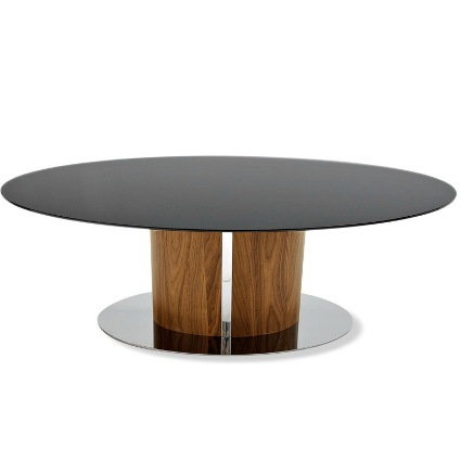 Odyssey Modern Black Glass and Walnut Dining Table