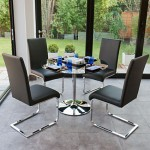 Naro Black Glass and Imola 4 Seater Dining Set