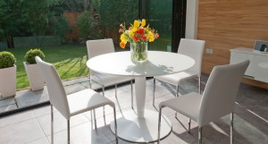 Vico Matt White Round and Tori 4 Seater Dining Set