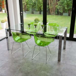 Tiva Glass Table and Coco Chairs Dining Set