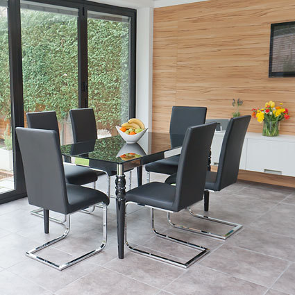 Epoque Black Glass Extending Table and Imola Chairs Dining Set