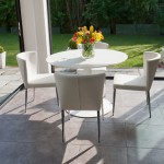Vico White Round and Curva 4 Seater Dining Set