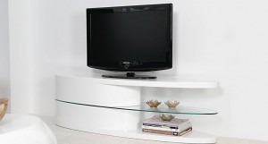 Oval White High Gloss TV Unit