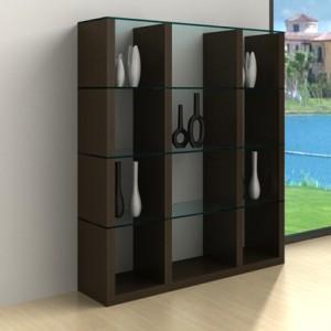 Aria Glass and Espresso Dark Wood Shelving Unit