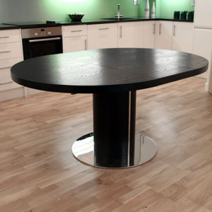 Curva Round Black Ash Extending Dining Table