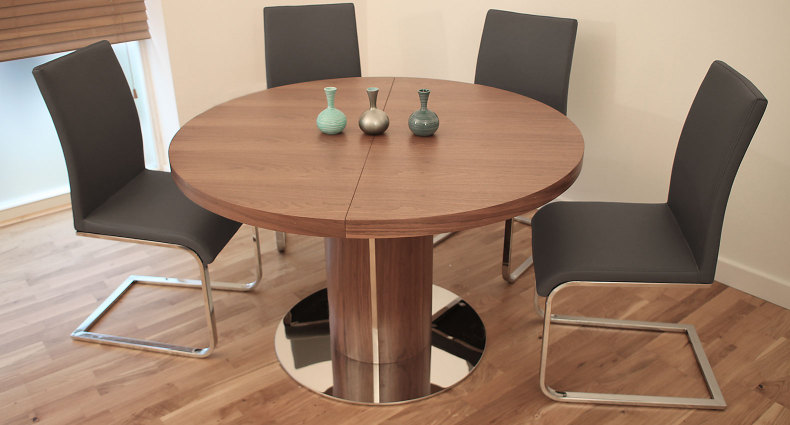 Verona Grey Faux Leather Dining Chair and Curva Walnut Dining Table