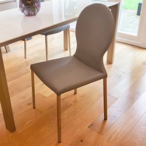 Lilly Modern Dining Chair in grey faux leather