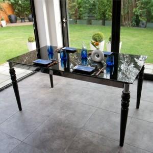 Epoque Black Glass Extending Dining Table