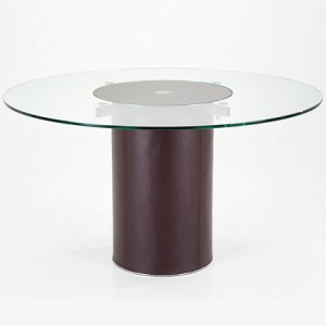 Mario Glass and Brown Leather Dining Table