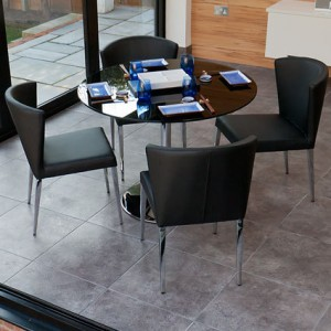 Naro Black Glass and Curva 4 Seater Dining Set