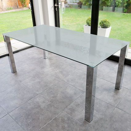 Tiva Large Frosted Glass and Chrome Dining Table