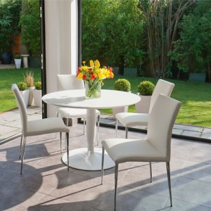 Vico White Round and Elise 4 Seater Dining Set