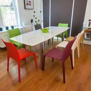 Assi White Gloss and Argenta Extending Dining Set