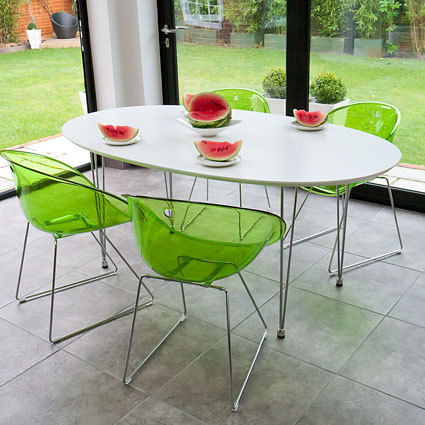 Ellie White Oval and Gliss Dining Set