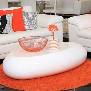 Pebble White High Gloss Coffee Table
