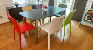 Argenta Coloured Faux Leather Chairs and Assi Wenge Extending Table