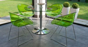 Gliss A Frame Chairs shown with Naro Clear Glass Dining Table