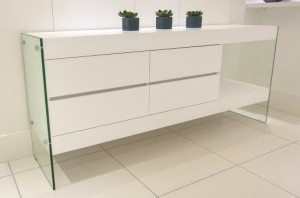Aria Glass and White Oak Sideboard