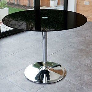 Naro Round Black Glass Table